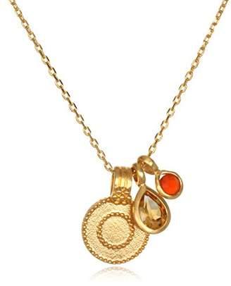 Satya Jewelry Women's Citrine & Carnelian Gold Sun Pendant Necklace 18-Inch