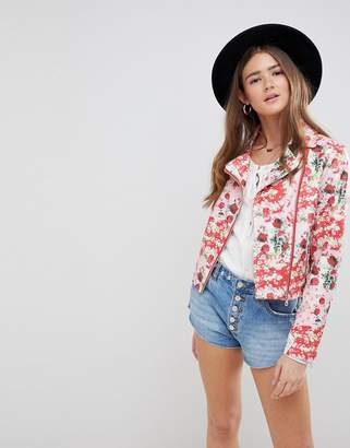 Asos Design DESIGN Floral Leather Look Biker