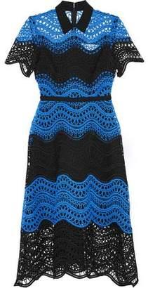 Lela Rose Satin-Trimmed Two-Tone Guipure Lace Midi Dress