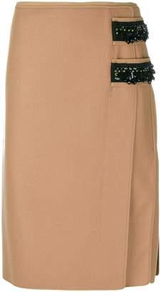 No.21 contrast embellished pencil skirt