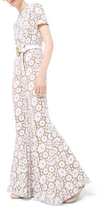 Michael Kors Floral Guipure Lace Flare-Leg Jumpsuit