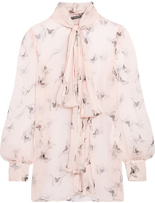 Alexander McQueen - Pussy-bow Printed Silk-crepon Blouse - Blush $1,585 thestylecure.com