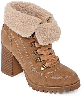 POP Womens Garland Stacked Heel Lace Up Boots