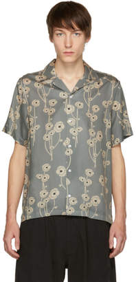 Saturdays NYC Blue Short Sleeve Canty Poppy Print Shirt