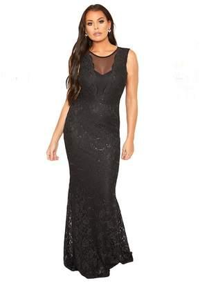 96824130cab at Debenhams · Jessica Wright Sistaglam Love Jessica - Black  Verena  Mesh  Panel Maxi Sequin Lace Dress