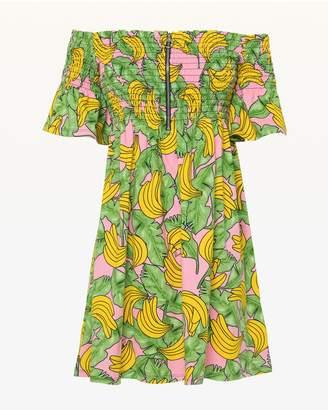Jxjc Smocked Banana Print A Line Dress