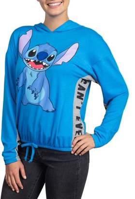 Disney Juniors' Licensed Stitch Graphic Colorblock Drawstring Waist Hoodie