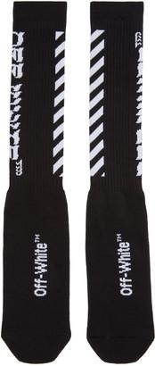 Off-White Black Diagonal Logo Socks $75 thestylecure.com