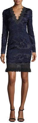 Elie Tahari Camden Long-Sleeve Lace Dress, Navy