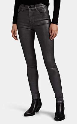J Brand Women's Maria Metallic High-Rise Skinny Jeans - Silver
