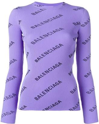 Balenciaga logo ribbed jumper