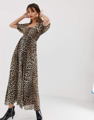 14d8686a32 Asos Design DESIGN shirred bustier maxi dress with puff sleeve in leopard  print