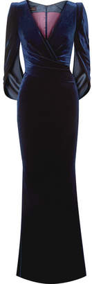 Talbot Runhof Rosin Cape-effect Velvet Gown - Midnight blue