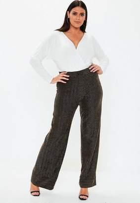 Missguided Plus Size Black Glitter Wide Leg Pants