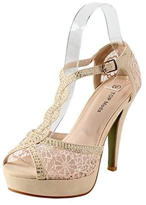 BEIGE Top Moda Hy-5 Formal Evening Party Lace Ankle T-Strap Peep Toe Stiletto High Heel Pumps