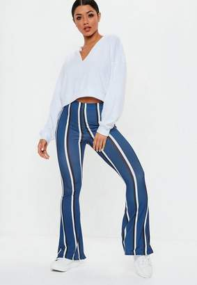 Missguided Blue Stripe Flare Pants