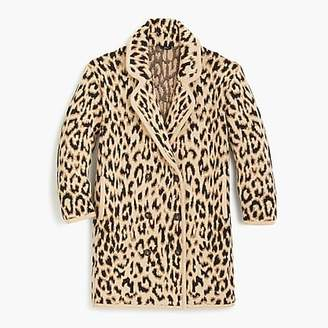 J.Crew Double breasted sweater coat in leopard