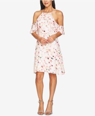 CeCe Floral-Print Ruffled Halter Dress