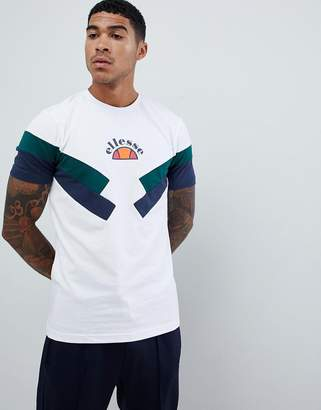 Ellesse Terria chevron panel t-shirt in white