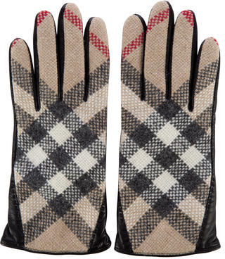 Burberry  Burberry House Check Leather Gloves