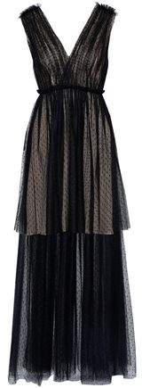 Layered Pleated Point D'espirit Gown