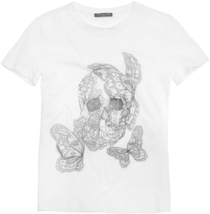 Alexander McQueen White Butterfly Lace Skull Boxy T-Shirt