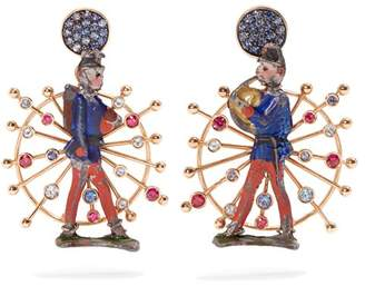 Francesca Villa Rose Gold, Sapphire Toy Soldier Earrings - Womens - Red