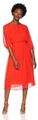 Maggy London Women's Petite Gauze Chiffon Smocked Waist Dress