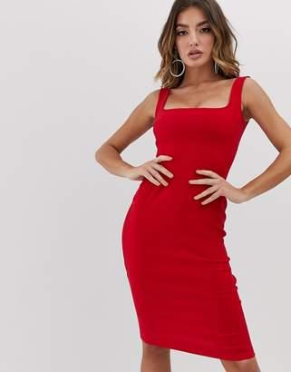 Vesper square neck pencil dress in red