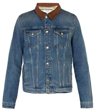 Frame Contrast Collar Denim Jacket - Mens - Blue