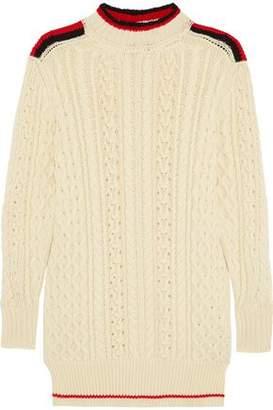Visit Sale Online Purchase Your Favorite  Isabel Marant Woman Stripe-trimmed Wool-blend Sweater Ecru Size 42 Isabel Marant ooMsTc