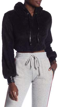 Ivory Rose Faux Fur Faux Leather Trimmed Crop Hoodie