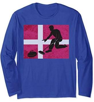 Curling Silhouette Danish Flag Winter Sports Long Sleeve