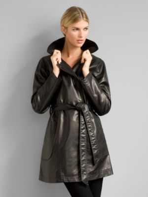City Style Leather Trench