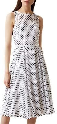 Hobbs Della Polka Dot Dress, Ivory/Multi