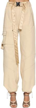 Fendi Cotton Blend Cargo Pants W/ Belt