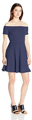 MOTEL Women's Catalina Off Shoulder Fit and Flare Dress in Navy $41 thestylecure.com