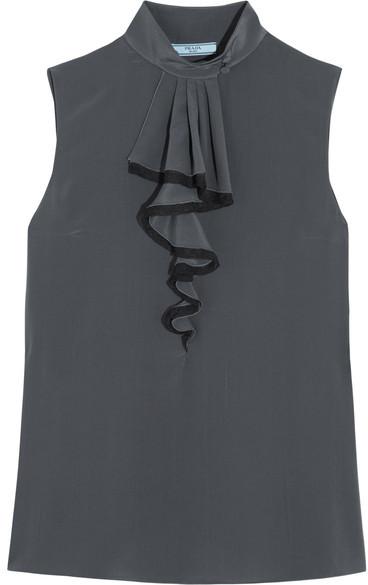 Prada - Ruffled Silk Crepe De Chine Top - Gray