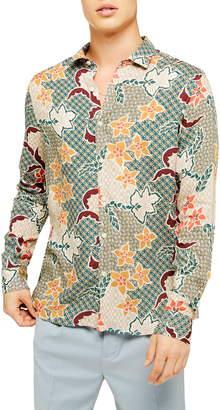 Topman Slim Fit Floral Tile Print Viscose Button-Up Shirt