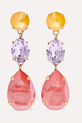Swarovski Roxanne Assoulin - Gold-tone Crystal Clip Earrings - Pink