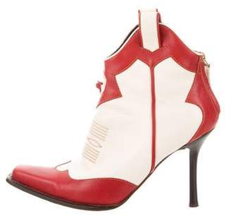 DSQUARED2 Leather Square-Toe Booties