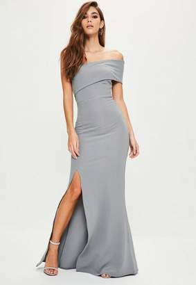 Missguided Gray One Shoulder Maxi Dress