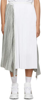 Sacai Grey and White Melton Wool Pleated Skirt