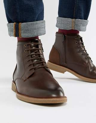 New Look faux leather boots in dark brown