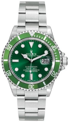 Rolex Submariner 16610 Steel Custom Green Mens Watch $9,950 thestylecure.com