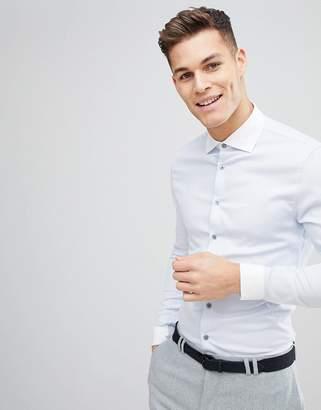 Asos Design DESIGN skinny twill shirt with cutaway collar