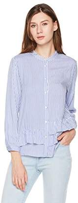 Plumberry Women's Striped Button Down Shirts - Mandarin Collar Asymmetric Ruffle Long Sleeve Blouse Tops