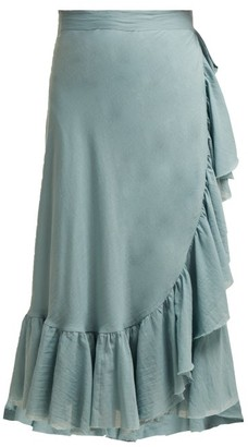 Loup Charmant Ruffled Wrap Cotton Midi Skirt - Womens - Light Green