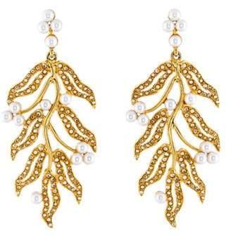 Oscar de la Renta Crystal & Faux Pearl Leaf Chandelier Earring gold Oscar de la Renta Crystal & Faux Pearl Leaf Chandelier Earring