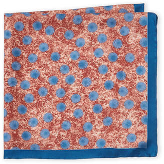 Piattelli Bruno Grey & Blue Abstract Silk Pocket Square